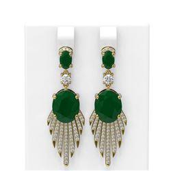 10.08 ctw Emerald & Diamond Earrings 18K Yellow Gold