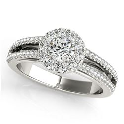0.75 ctw Certified VS/SI Diamond Solitaire Halo Ring 18k White Gold