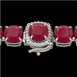 46 ctw Ruby & Micro Pave VS/SI Diamond Bracelet 14k White Gold