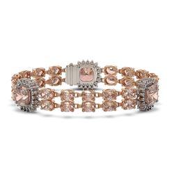 18.59 ctw Morganite & Diamond Bracelet 14K Rose Gold