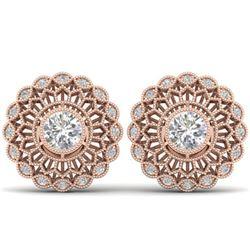 1.5 ctw Certified VS/SI Diamond Art Deco Stud Earrings 14k Rose Gold
