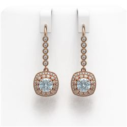 4.5 ctw Aquamarine & Diamond Victorian Earrings 14K Rose Gold