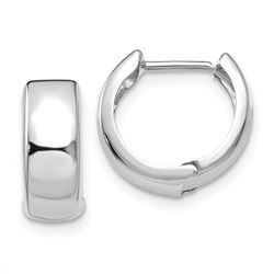 14k White Gold Polished Hinged Hoop Earrings