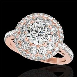 2.09 ctw Certified Diamond Solitaire Halo Ring 10k Rose Gold
