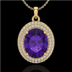 4 ctw Amethyst & Micro Pave VS/SI Diamond Necklace 18k Yellow Gold
