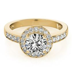 1.2 ctw Certified VS/SI Diamond Halo Ring 18k Yellow Gold