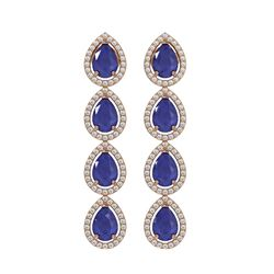10.2 ctw Sapphire & Diamond Micro Pave Halo Earrings 10k Rose Gold