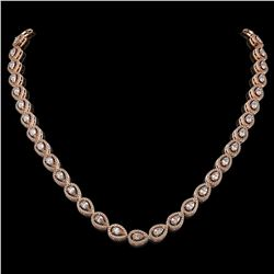 17.28 ctw Pear Cut Diamond Micro Pave Necklace 18K Rose Gold