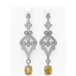 9.55 ctw Canary Citrine & Diamond Earrings 18K White Gold
