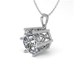 1 ctw Certified VS/SI Diamond Solitaire Necklace 18k White Gold