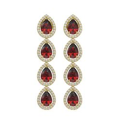 8.2 ctw Garnet & Diamond Micro Pave Halo Earrings 10k Yellow Gold