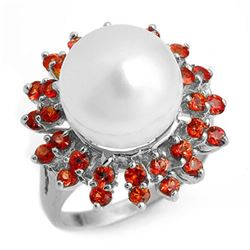1.50 ctw Red Sapphire & Pearl Ring 18k White Gold
