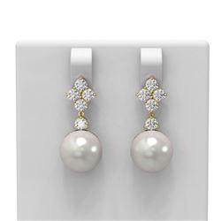 1.2 ctw Diamond & Pearl Earrings 18K Yellow Gold