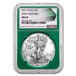2017 Silver American Eagle MS-69 NGC (ER, Green Holder)