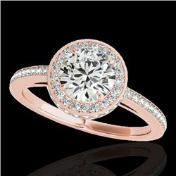 1.55 ctw Certified Diamond Solitaire Halo Ring 10k Rose Gold