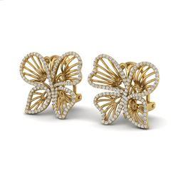 1.25 ctw Designer Micro Butterfly VS/SI Diamond Earrings 14k Yellow Gold