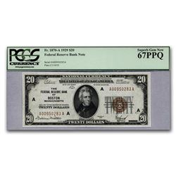 1929 (A-Boston) $20 Brown Seal FRBN CU-67 PPQ PCGS