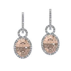 7 ctw Morganite & Micro Pave Halo VS/SI Diamond Earrings 14k White Gold