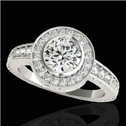 2 ctw Certified Diamond Solitaire Halo Ring 10k White Gold