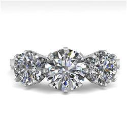 2 ctw Past Present Future Certified VS/SI Diamond Ring 18k White Gold
