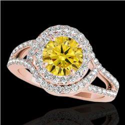 1.9 ctw Certified SI/I Fancy Intense Yellow Diamond Ring 10k Rose Gold