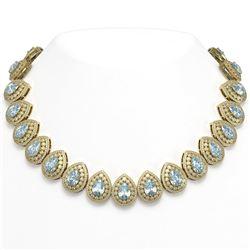 92.83 ctw Aquamarine & Diamond Victorian Necklace 14K Yellow Gold
