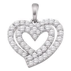 10kt White Gold Round Diamond Heart Pendant 3/4 Cttw