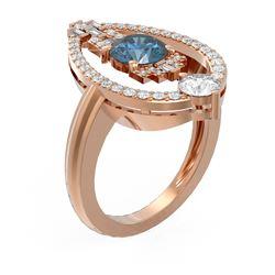 2.12 ctw Intense Blue Diamond Ring 18K Rose Gold