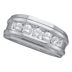 14kt White Gold Mens Round Diamond Wedding Band Ring 1.00 Cttw