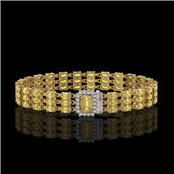 20.93 ctw Citrine & Diamond Bracelet 14K Yellow Gold