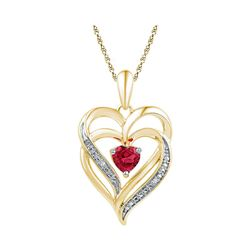 Yellow-tone Sterling Silver Round Lab-Created Ruby Heart Pendant .01 Cttw