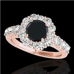 2.9 ctw Certified VS Black Diamond Solitaire Halo Ring 10k Rose Gold