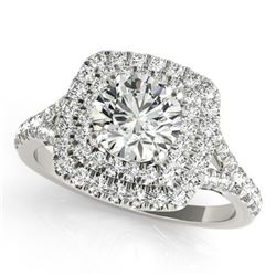 1.04 ctw Certified VS/SI Diamond Solitaire Halo Ring 14k White Gold
