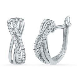 10kt White Gold Round Diamond Hoop Earrings 1/5 Cttw