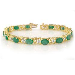 12.05 ctw Emerald & Diamond Bracelet 10k Yellow Gold