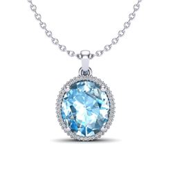 12 ctw Sky Blue Topaz & Micro VS/SI Diamond Necklace 18k White Gold