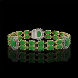 14.05 ctw Jade & Diamond Bracelet 14K Yellow Gold