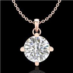 1 ctw VS/SI Diamond Solitaire Art Deco Stud Necklace 18k Rose Gold