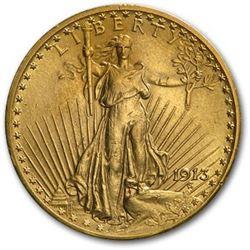 1913 $20 Saint-Gaudens Gold Double Eagle AU