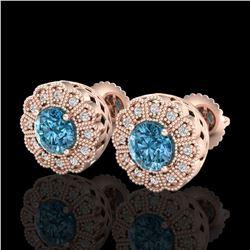 1.32 ctw Fancy Intense Blue Diamond Art Deco Earrings 18k Rose Gold