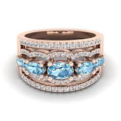 2.25 ctw Sky Blue Topaz & Micro Pave VS/SI Diamond Ring 10k Rose Gold