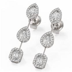 2.37 ctw Mix Cut Diamonds Designer Earrings 18K White Gold