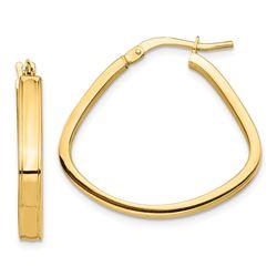 14k Yellow Gold Polished Triangle Hoop Earrings - 3 mm
