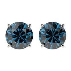 2.05 ctw Certified Intense Blue Diamond Stud Earrings 10k White Gold