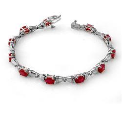 7.11 ctw Ruby & Diamond Bracelet 14k White Gold