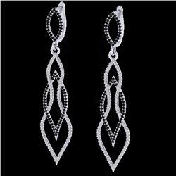 1.90 ctw Micro Pave Black & VS/SI Diamond Earrings 14k White Gold
