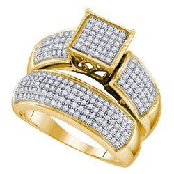 10kt Yellow Gold Diamond Cluster Bridal Wedding Engagement Ring Band Set 5/8 Cttw