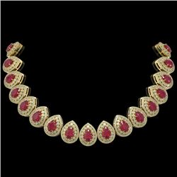 121.42 ctw Certified Ruby & Diamond Victorian Necklace 14K Yellow Gold