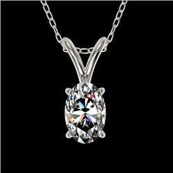 0.50 ctw Certified VS/SI Quality Oval Diamond Necklace 10k White Gold