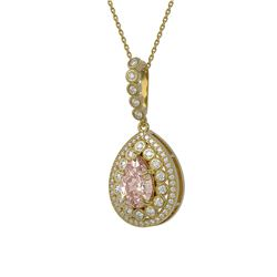 4.17 ctw Morganite & Diamond Victorian Necklace 14K Yellow Gold